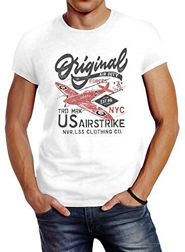 Neverless® Herren T-Shirt US Airforce Army Motiv Spitfire Flugzeug Vintage Motiv Retro Schriftzug Fashion weiß L