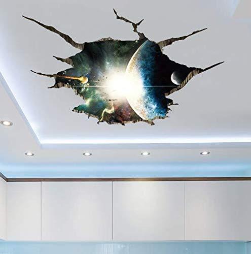 Nonebranded wandtattoo Weltraumplanet 3D Bodenaufkleber Selbstklebende Wandaufkleber Wohnkultur Wohnzimmerdecke PVC Wandaufkleber 103 * 71cm