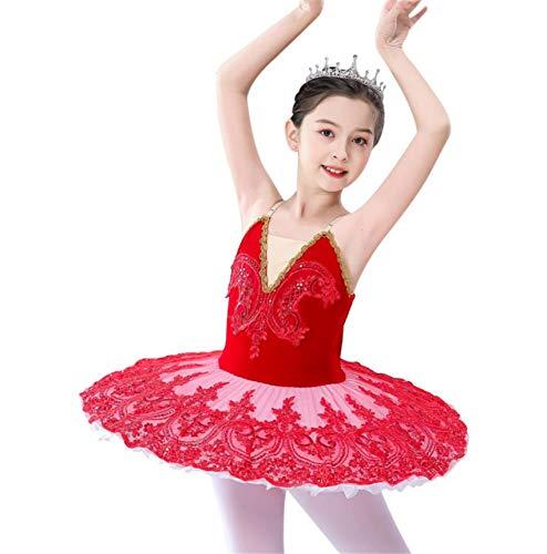 ZYLL Disfraces Lago de los cisnes Ballet del tut del Ballet del Traje de Bailarina de Las Muchachas del Vestido de los nios del Vestido de Partido de la Etapa Dancewear,Rojo,150CM