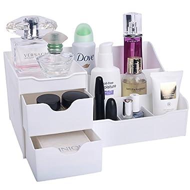 Mantello Makeup Organizer Vanity Organizer with Drawers, White
