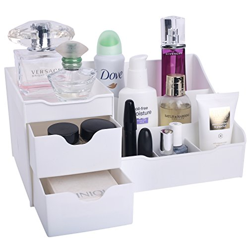 Mantello Makeup Organizer - Vanity Box with Drawers for Cosmetics, Jewelry, Accessories, Nail Care Essentials, Skincare Items - Multi-Purpose Plastic Tabletop Cabinet for Storage & Display - White
