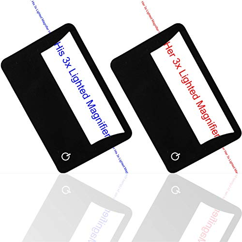 Price comparison product image His and Her Credit Card Size Lighted 3X Magnifier Bundle Includes 2 Magnifiers,  Each Magnifier for Reading has 3X Fresnel Lens