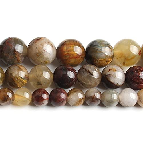 Heinside Cuentas de piedra natural trenzadas, redondas, sueltas, de 15 pulgadas, 6, 8, 10 mm, para diseños de fabricación de joyas (diámetro del artículo: 10 mm, 37 unidades)