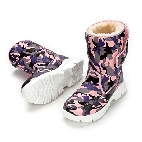 LIUJUN-WEI Botas de Nieve for Padres Y Niños for Padres, Zapatos Cálidos for Padres Y Niños, Niños Más Velvitas Zapatos de Algodón Acolchado (Color : A, Size : 33)