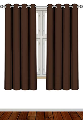 Utopia Bedding 2 Panels Grommet Blackout Curtains Thermal Insulated for Bedroom, W52 x L63 Inches, Chocolate