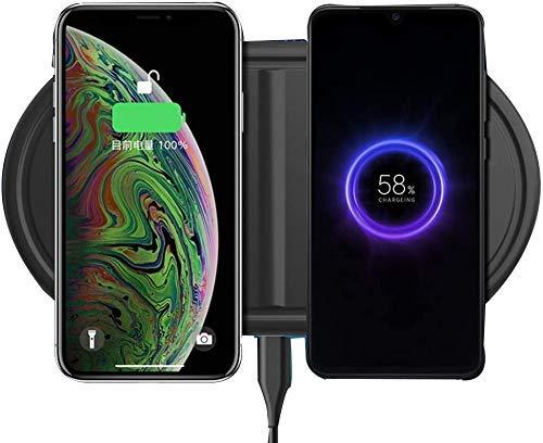 MRTYU-UY Cargador inalámbrico 2 en 1 Soporte para teléfono móvil de Carga inalámbrica rápida de 10 W, para iPhone X XS MAX XR 8 8 Plus, Samsung S10 S9 S8,5W Todos los Dispositivos habilitados
