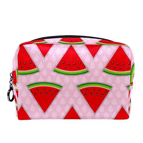 TIZORAX Abstrakte natürliche Sommer-Wassermelonen-Make-up-Tasche, Kulturbeutel für Frauen, Hautpflege, Kosmetik, praktische Tasche mit Reißverschluss