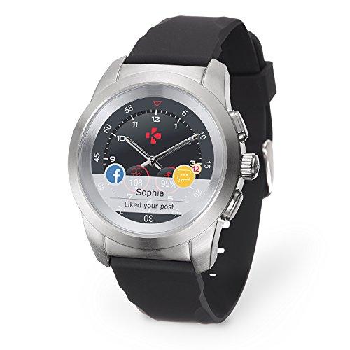 MyKronoz ZeTime Petite Smartwatch Ibrido con Lancette Analogiche su Schermo Tattile, Argento Spazzolato/Silicone Nero