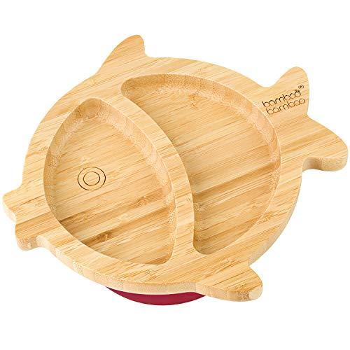 Bamboo Bamboo - Plato de succión de pescado para bebé (cereza)