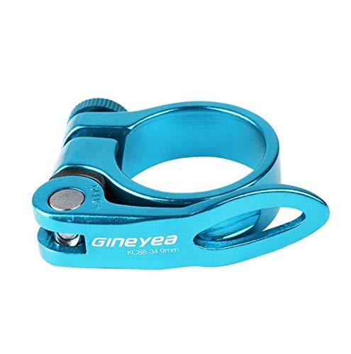 Cierre de sillín o abrazadera para tija de sillín de bicicleta con palanca de liberación rápida para bicicleta de montaña (MTB) o carretera de 31,8 mm (azul)