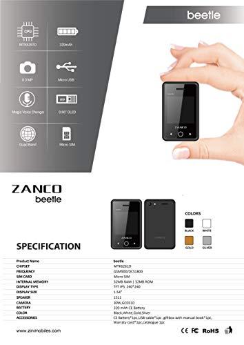 Zanco Beetle World's Smallest PDA Phone 1.54 Inch Screen Bluetooth 3.0 FM Radio Torch Touch Screen