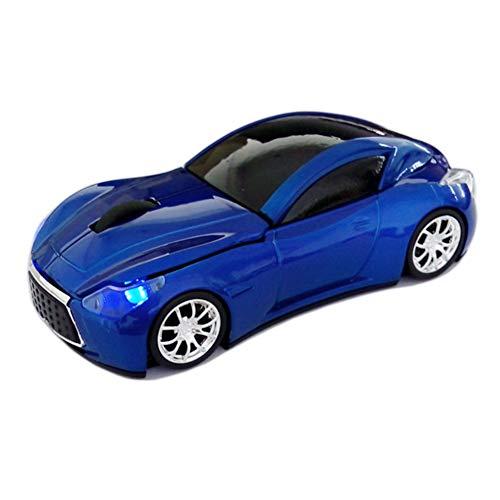 Ratón inalámbrico, 2.4 GHz 3D dpi 1200 Cool Sport USB Gaming Mouse con Faro Delantero y Receptor de luz Trasera ergonómico Azul