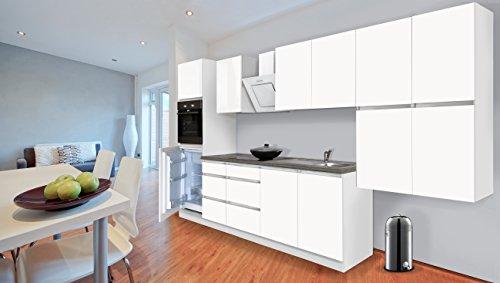 respekta Premium grifflose Küchenzeile Küche 370 cm Weiss Matt inkl. Softclose/Kühl-Gefrierkombination 88 cm & Glaskeramikkochfeld