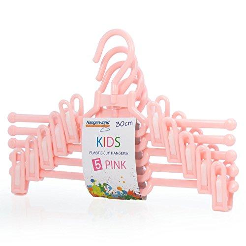 Hangerworld - Juego de 10 Perchas de plástico Rosa con Pinzas para Pantalones y Faldas, 30 cm, para Ropa de bebé y niño
