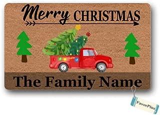 Doormat Merry Christmas Family Name Text Custom Personalized Christmas Decor Outdoor/Indoor Non Slip Decor Funny Floor Door Mat Area Rug for Entrance 18X30 Inch