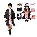 Demon Slayer Costumes Children's Kimono Cloak Kimetsu no Yaiba Boy's Cloak Hallowee Cosplay Uniform Girl Kidswear (kids-130, Pink_Kamado Nezuko)