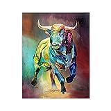 Pinturas de lienzo de toro colorido abstracto Impresiones de arte de pared de animales Póster Pinturas decorativas de sala de estar en la pared Decoración del hogar 60x80cm Sin marco