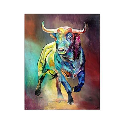 Pinturas de lienzo de toro colorido abstracto Impresiones de arte de pared de animales Póster Pinturas decorativas para sala de estar en la pared Decoración para el hogar 50x70cm Sin marco