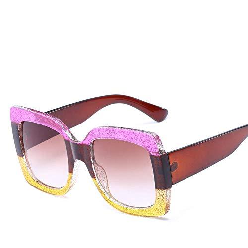 DLSM Gafas de Sol de Marco de Gran tamaño Colorido Cuadrado Mujeres Multicolor Lady Sun Glasses UV400 Adecuado para Playa Party Trekking-Marrón Amarillo Rosa
