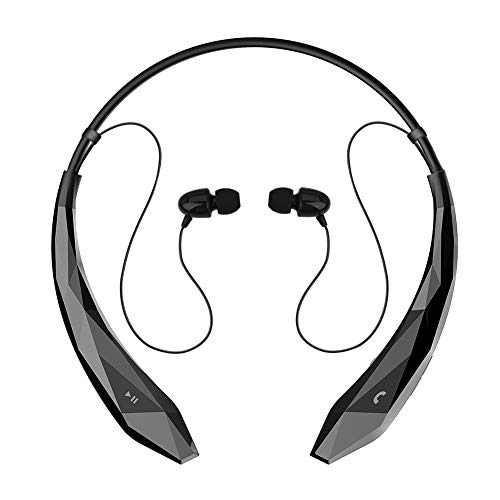 Bluetooth Headphones, ThreeMay Wireless Neckband Headset V4.0 Stereo Noise Cancelling Magnetic Earbuds with Mic-Black