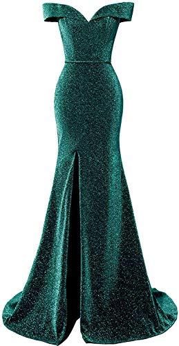 HUINI Abendkleider Glitzer Hochzeitskleid Meerjungfrau Lang Ballkleid V-Ausschnitt Festkleider mit Schleppe Grün 42