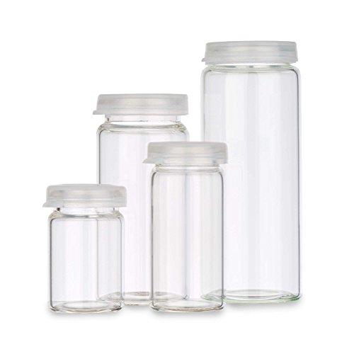 Tuuters 25x Tablettengläser mit Schnappdeckel | Hochwertige Rollrandflaschen aus Laborglas (100 x Ø30mm)