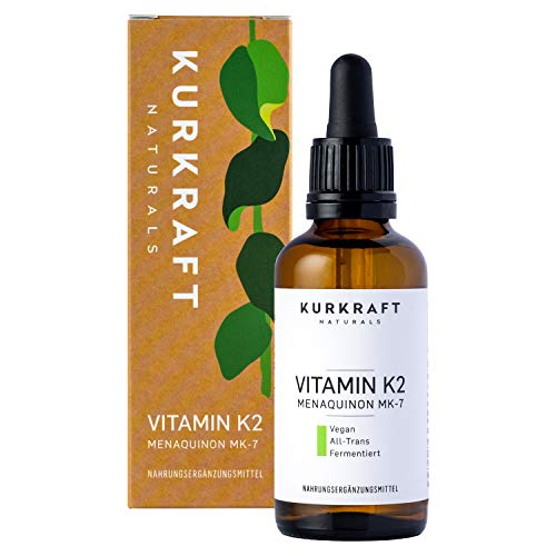 Kurkraft® Vitamin K2 MK-7-200µg - All-Trans (99,7+%) - K2VITAL® von Kappa - 1700 Tropfen (50ml) - Laborgeprüft - Vegan - Hochdosiert - in Deutschland produziert