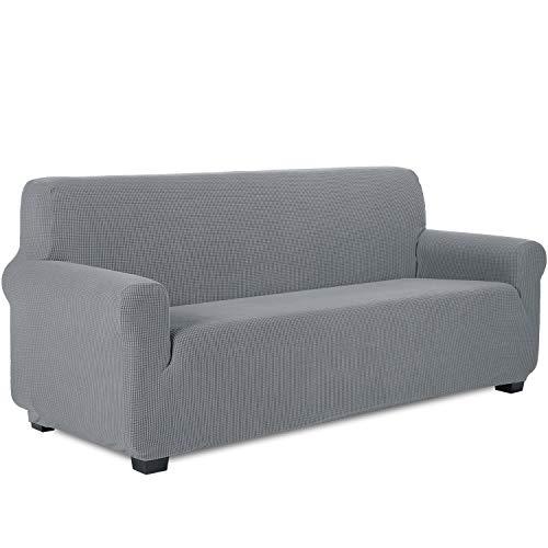 TIANSHU Sofabezug 3 sitzer, Stretch Spandex Couchbezug Sesselbezug Elastischer Antirutsch Stretchhusse Weich Stoff,Jacquard-Stretch-Sofabezug, Schonbezug für Sofa-Sofahalter(3 Sitzer,Hellgrau)