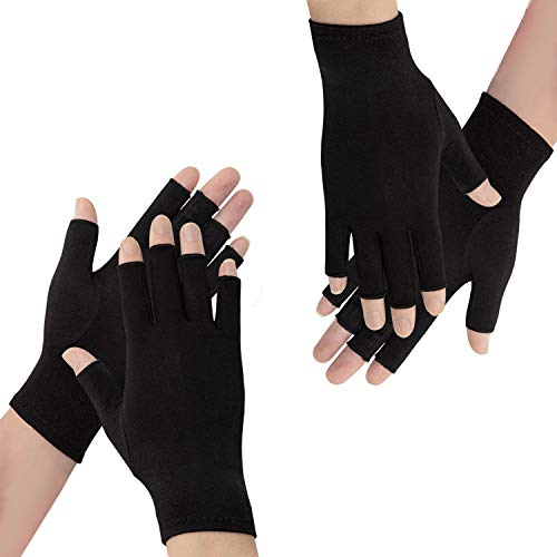 2 Pairs Arthritis Compression Gloves- Ease from Arthritis, RSI, Carpal Tunnel, Hand Pain Relief, Rheumatoid, Swollen Hands, Tendonitis for Pain,Suitable for Male and Women Gloves(Black Large)