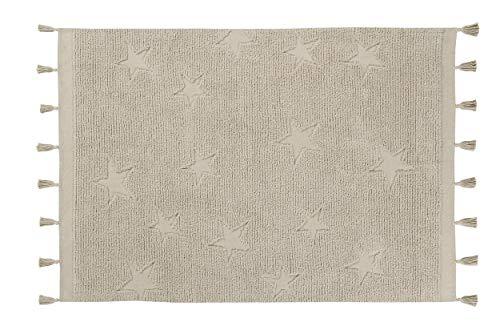Lorena Canals - Alfombra lavable Hippy Stars Natural - Natural - 97 % algodón 3 % otras fibras - 175x120 cm