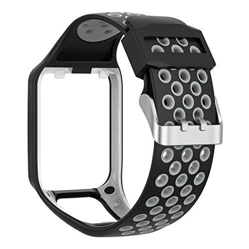 LOKEKE Dual-Colors Replacement Silicone Wrist Strap Band For TomTom Runner 2/3/ TomTom Adventurer/ TomTom Golfer 2/ TomTom Spark/Spark 3(Silicone Black +Gray)