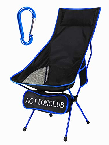 Lightweight Folding Camping Chair - Portable Camp Chair with Headrest and Carry Bag, Camping Chairs for Outdoor Picnic, BBQ, Fishing, Hiking (Dark Blue)