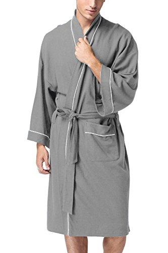 Dolamen Unisex Damen Herren Morgenmantel Bademäntel, Weich u. Leicht Baumwolle Waffelpique Nachtwäsche Nachthemd Robe Negligee locker Schlafanzug, für Spa Hotel Sauna, 1 pcs (X-Large, Grau)