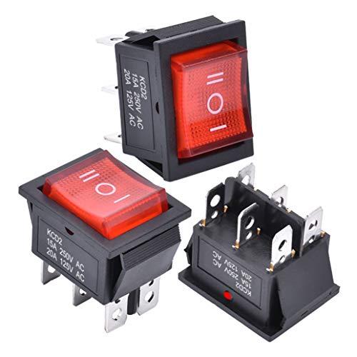 APIELE 3 interruttori a levetta, 3 posizioni, ON/OFF con interruttore a LED DPDT a 6 pin, 250 V, 16 A, interruttore a levetta per abitazioni, industrie, fai da te, KCD2-203N (rosso)