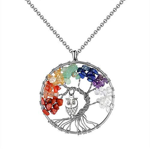 Collar de árbol de vida de piedra de cristal colorido búho
