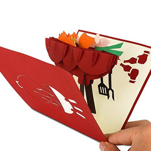 41oP2HMYPGL - PaperCrush® Pop-Up Karte Vatertag Grill - 3D Geburtstagskarte für Ihn, Männer Glückwunschkarte, Mitbringsel für Grillparty, Grillen - Lustige Geschenkkarte für Papa, besten Freund, 18. Geburtstag