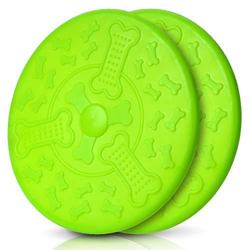 Honigpfote Hunde Frisbee in knalliger Farbe schwimmend aus flexiblem Naturkautschuk, Interaktives Outdoor- Hundespielzeug, Wurfspielzeug für Hunde (19 cm, Doppel)