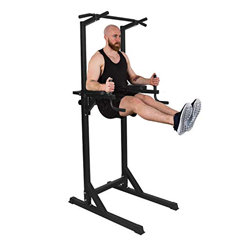 KARMAS PRODUCT Power Tower Adjustable Height Standing Pull Up Bar Dip Station for Home Gym