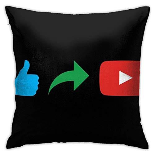 WH-CLA Pillowcase Me Gusta Compartir Suscribirse Negro Interior Dormitorio Throw Pillowcase Funda De Almohada Funda De Sofá para El Hogar Funda De Cojín Silla 45X45Cm Cojín De Coche Cuad