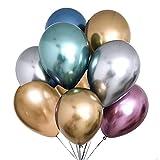 cholinchin 50 Piezas Globos Metálicos,Globos Cromados Color del Metal Decoración para Matrimonio Chica Niño Cumpleaños JGA Partido de gallina (Oro Plata Azul Verde Rosa Rojo Púrpura)