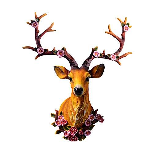 Cabeza de Ciervo de Resina 3D Retro para Colgar en la Pared, Escultura de Cabeza de Ciervo Moderna decoración de Pared Colgante de Pared Cabeza de Animal Tallado (Color : Right Side)