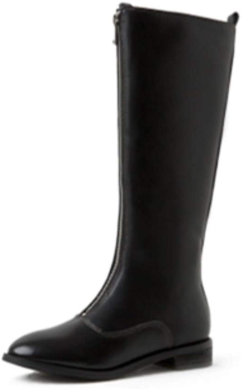 Nine Seven Women's Genuine Leather Round Toe Low Chunky Heel Zip Up Handmade Comfort Walking Wide Calf Knee High Boots