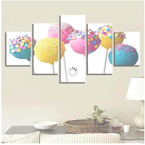 Mmpcpdd Pinturas Decoración Pared del Hogar 5 Piezas Lollipop De Colores Imágenes ArtísticasLienzo Póster Marco Impresión Sala De Estar Moderna -40X60X2 40X80X2 40X100Cmx1