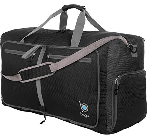 Bago 80L Travel Duffle Bag - Foldable Weekender Bag For Women & Men - Lightweight tier-resistant waterproof Shoe Pocket (Black)