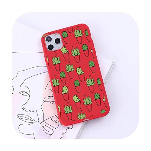 Funda para teléfono móvil con diseño de cactus de dibujos animados de plantas, color caramelo para iPhone 6 7 8 11 12 s mini pro X XS XR MAX Plus-a6-iPhone11pro