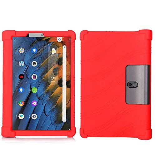 QYiD Funda para Lenovo Yoga Tab 3 10 10.1-Pulgadas Tablet, Funda de Silicona Suave a Prueba de Golpes Protectora Cubrir Cover para Yoga Tab3 10.1-Pulgadas Tablet TB-X50F, Rojo