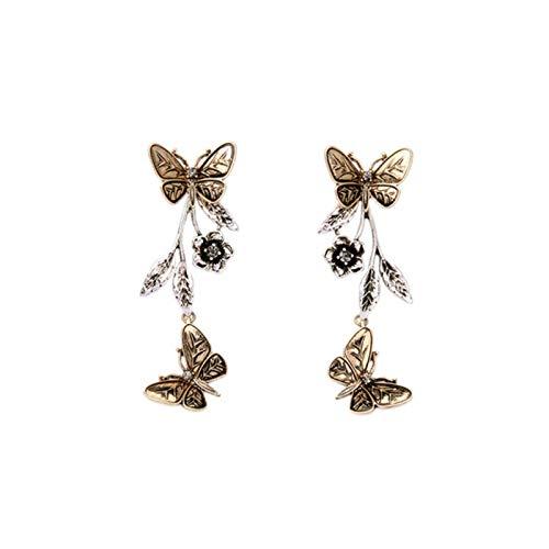 SALAN Vintage Butterfly Dangle Drop Earrings For Women Fashion Black Metal Long Tassel Statement Earrings Party Wedding Jewelry Gift