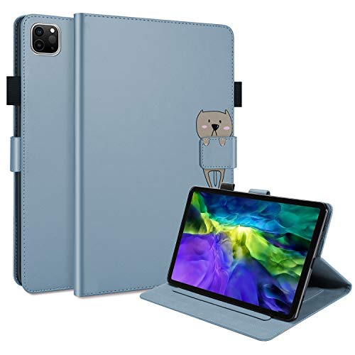 Tedtik Case for New iPad Pro 11 2020 (2nd Generation),Slim PU Leather Case,Stand Cover with Pen Holder, Gray