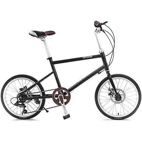 WPW Bicis Ligeras De Las Señoras, Bici del Camino De 7 Velocidades, Ciclo del Camino Rodado De 20 Pulgadas para Los Estudiantes Adolescentes (Color : 14 Inch Bracket Black, Talla : 7-Speed)