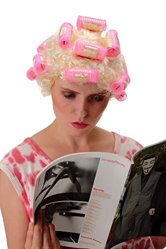 WIG ME UP - 4204 Perruque Dames Carnaval Halloween Femme au Foyer, bigoudis, Blond Lumineux Drag Queen
